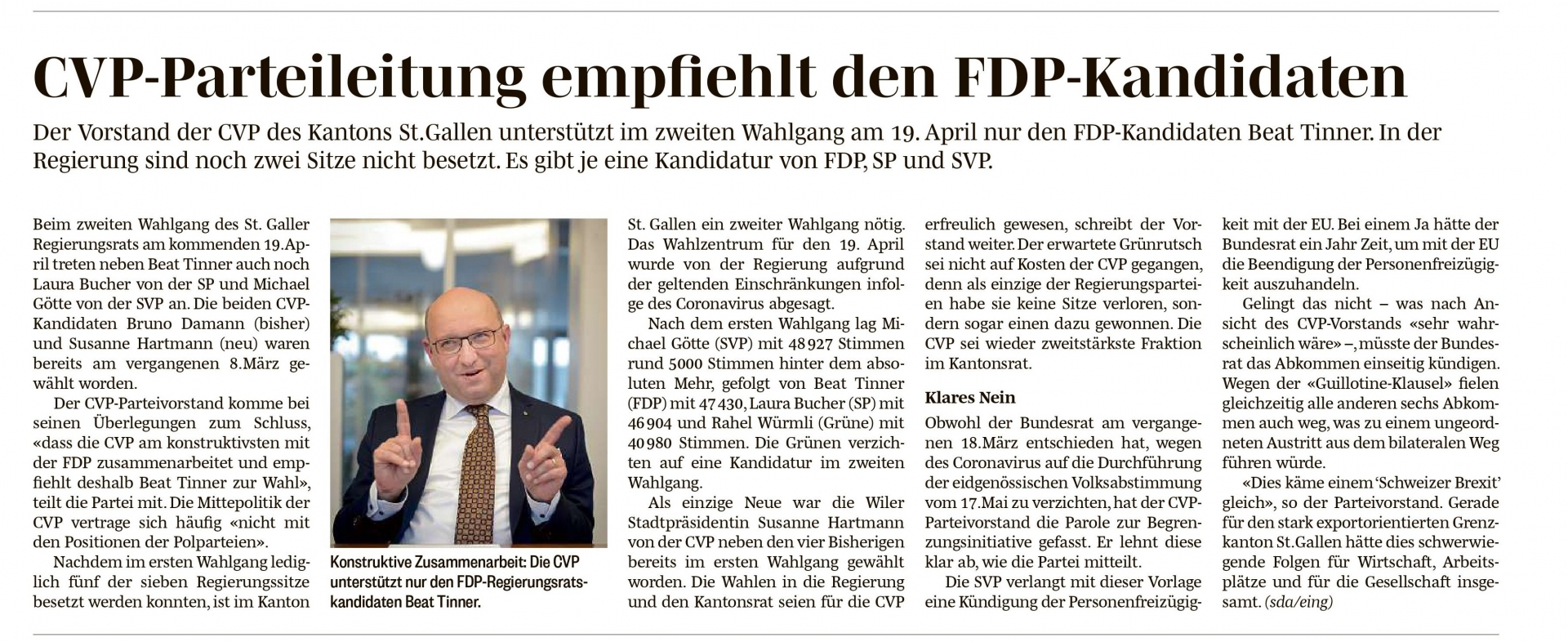CVP-Parteileitung empfiehlt den FDP-Kandidaten