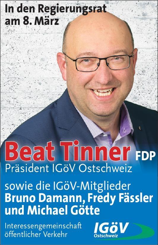 IGöV Ostschweiz empfiehlt Beat Tinner als Regierungsrat