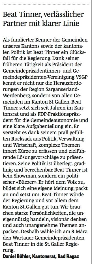 Bad Ragazer Gemeindepräsident unterstützt Beat Tinner