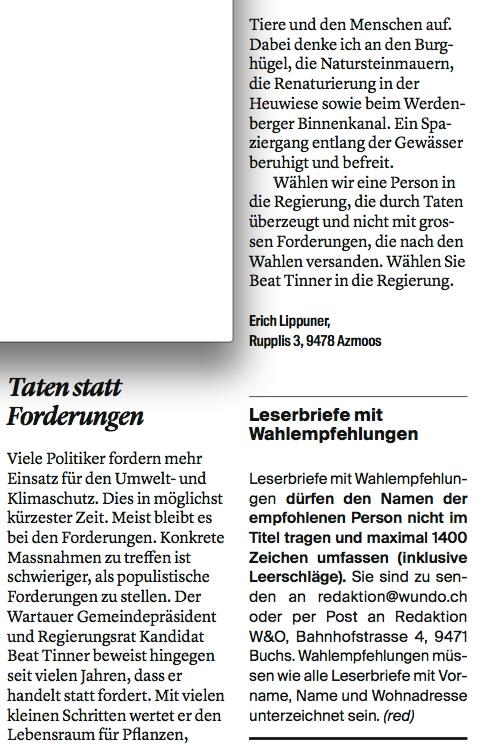 Leserbrief: Erich Lippuner aus Azmoos unterstützt Beat Tinner