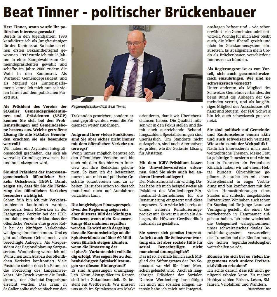 Beat Tinner: Der politische Brückenbauer