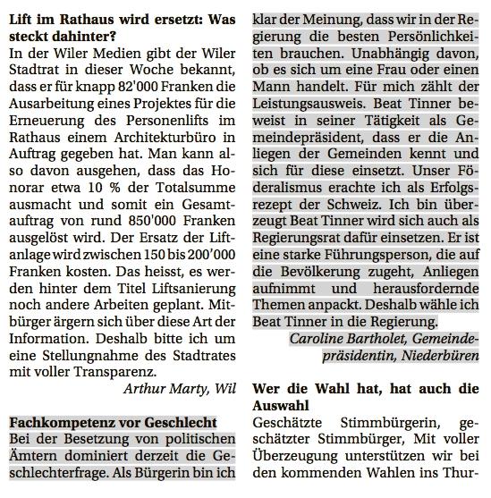 Leserbrief von Caroline Bartholet, Gemeindepräsidentin Niederbüren