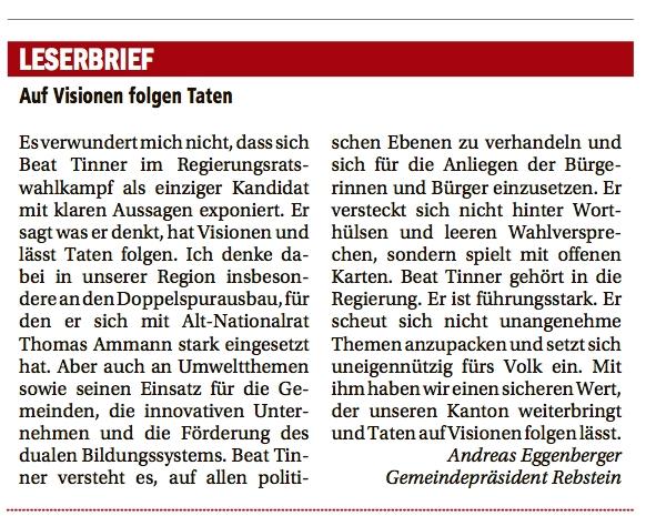 Auf Visionen folgen Taten - Andreas Eggenberger unterstützt Beat Tinner