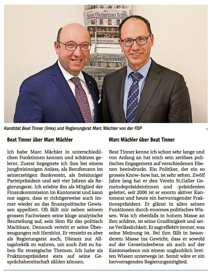 Regierungsrat Marc Mächler über Beat Tinner