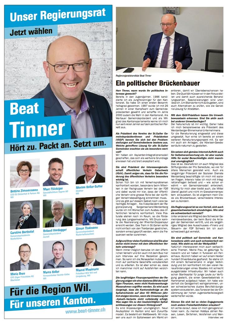 Die Region Wil wählt Beat Tinner in den Regierungsrat