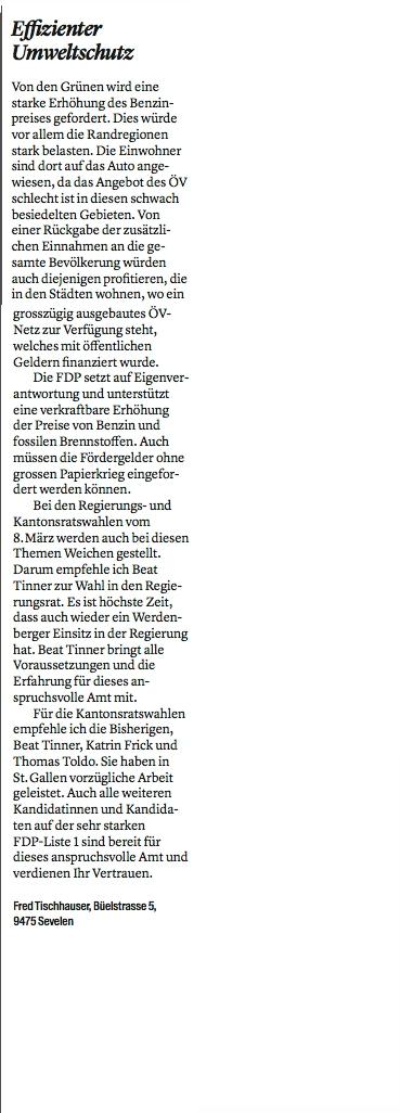 Leserbrief von Fred Tischhauser im W&O
