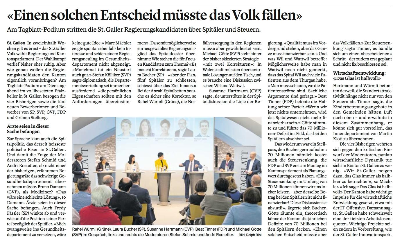 """""""Tagblatt""""-Podium zur Regierungsratswahlen"""