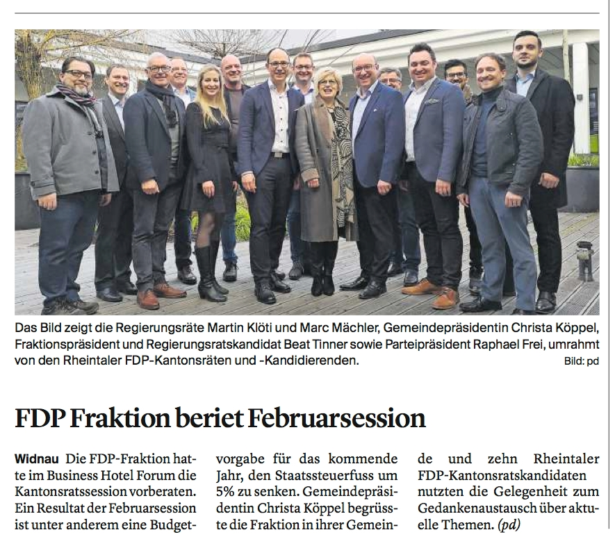 FDP-Fraktion tagte in Widnau