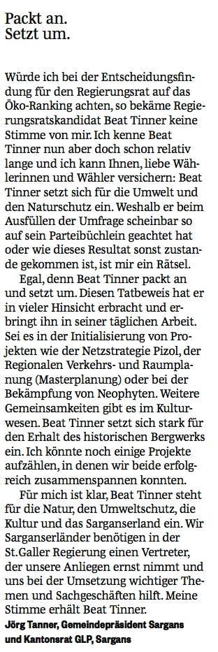 Der Sarganser Gemeindepräsident Jörg Tanner wählt Beat Tinner