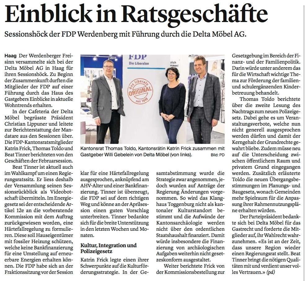 Sessionsrückblick der FDP Werdenberg