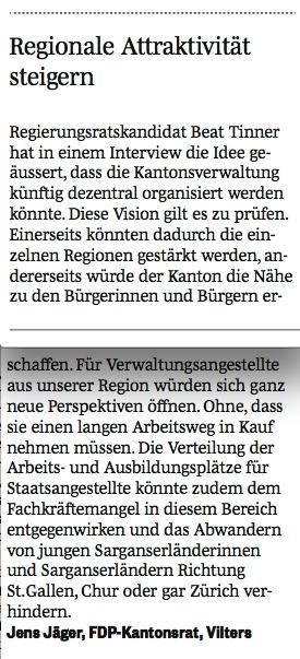 Leserbrief von Jens Jäger - Regionale Attraktivität steigern