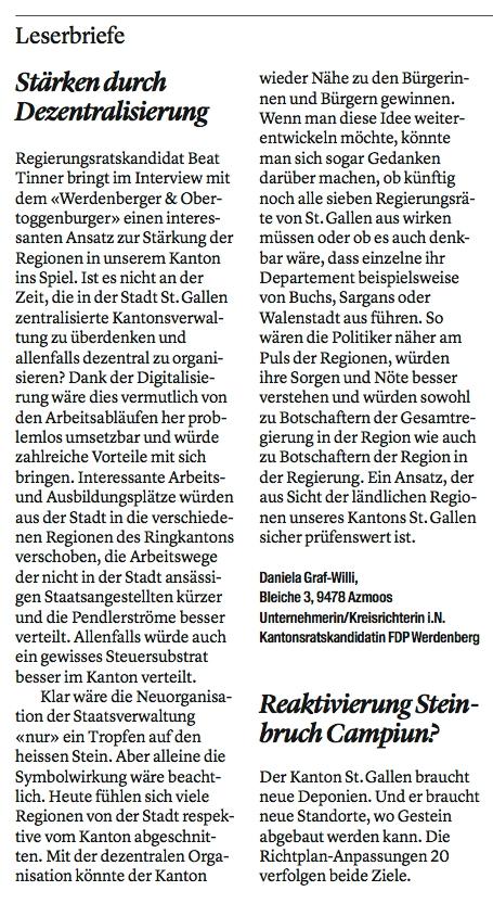 Leserbrief von Daniela Graf-Willi - Stärken durch Dezentralisierung