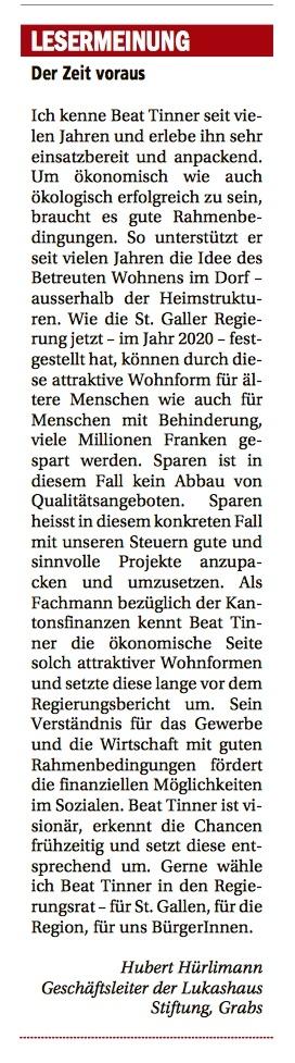 Leserbrief von Hubert Hürlimann - Beat Tinner ist der Zeit voraus