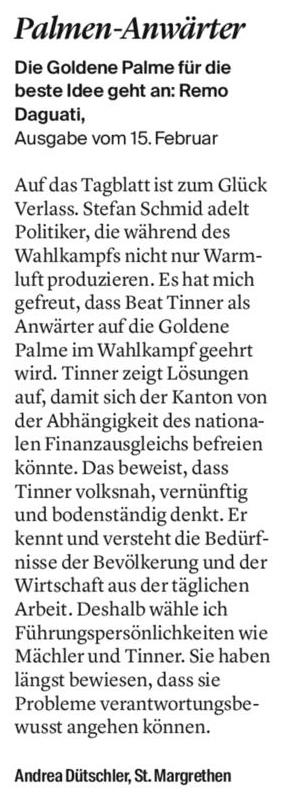 Leserbrief von Andrea Dütschler - Beat Tinner ist Anwärter auf Goldene Palme