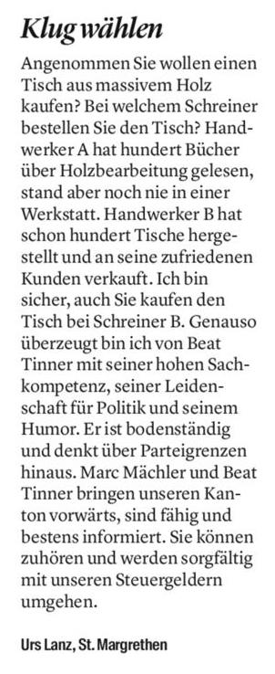 Leserbrief von Urs Lanz - Klug wählen
