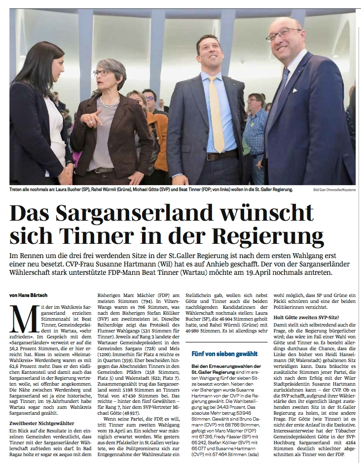 Sarganserland wünscht sich Beat Tinner in der Regierung