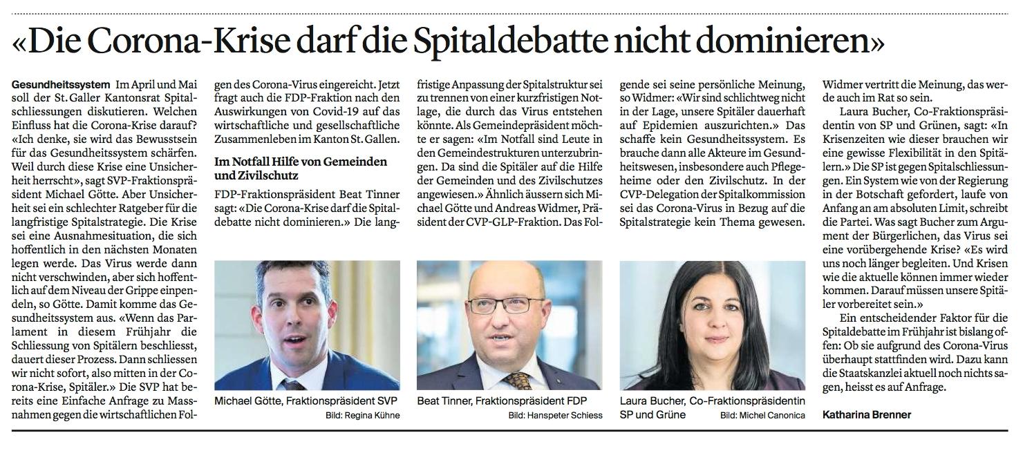 """""""Corona-Krise darf Spitaldebatte nicht dominieren"""""""