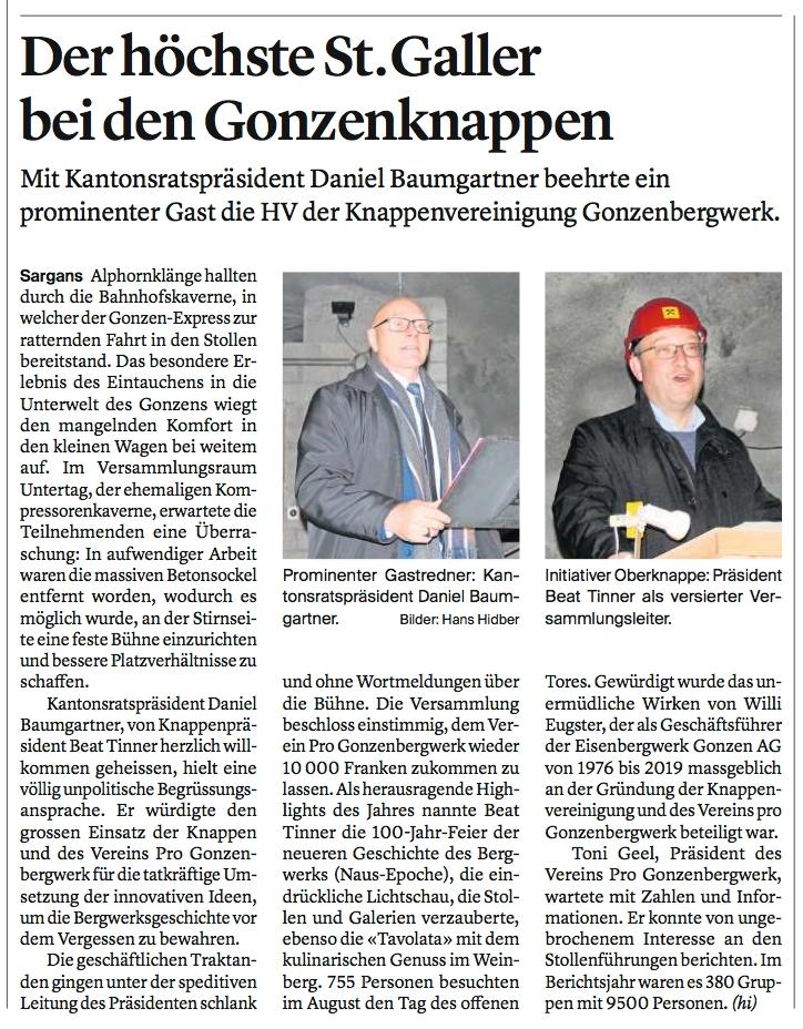 Baumgartner beehrt Knappenvereinigung Gonzenbergwerk