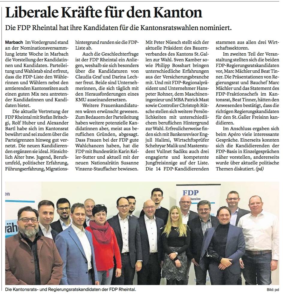 FDP Rheintal präsentiert ihre Kantonsratskandidierenden