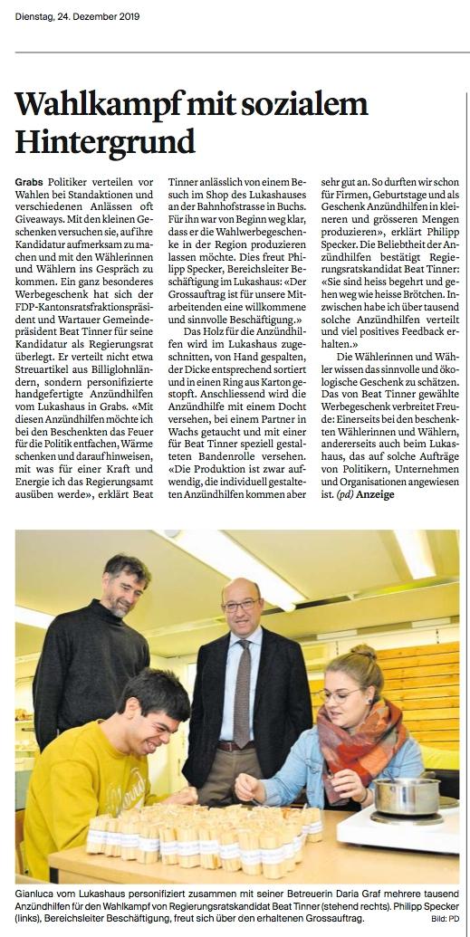Lukashaus in Grabs profitiert indirekt vom Wahlkampf