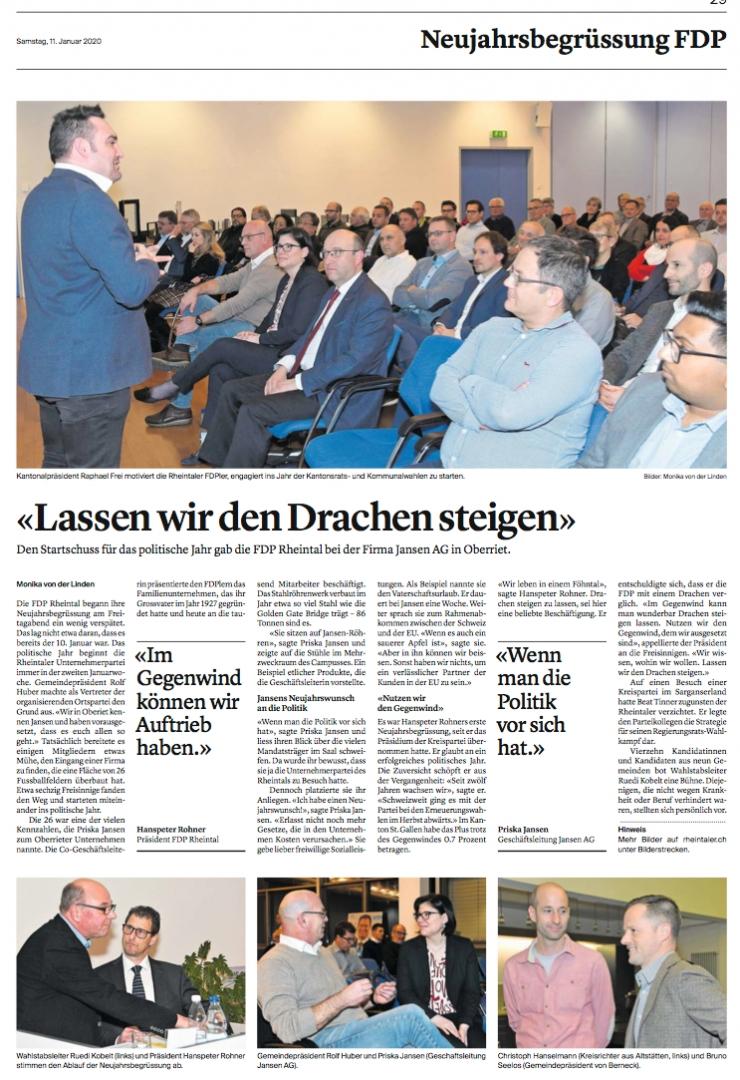 Neujahrsbegrüssung der FDP Rheintal