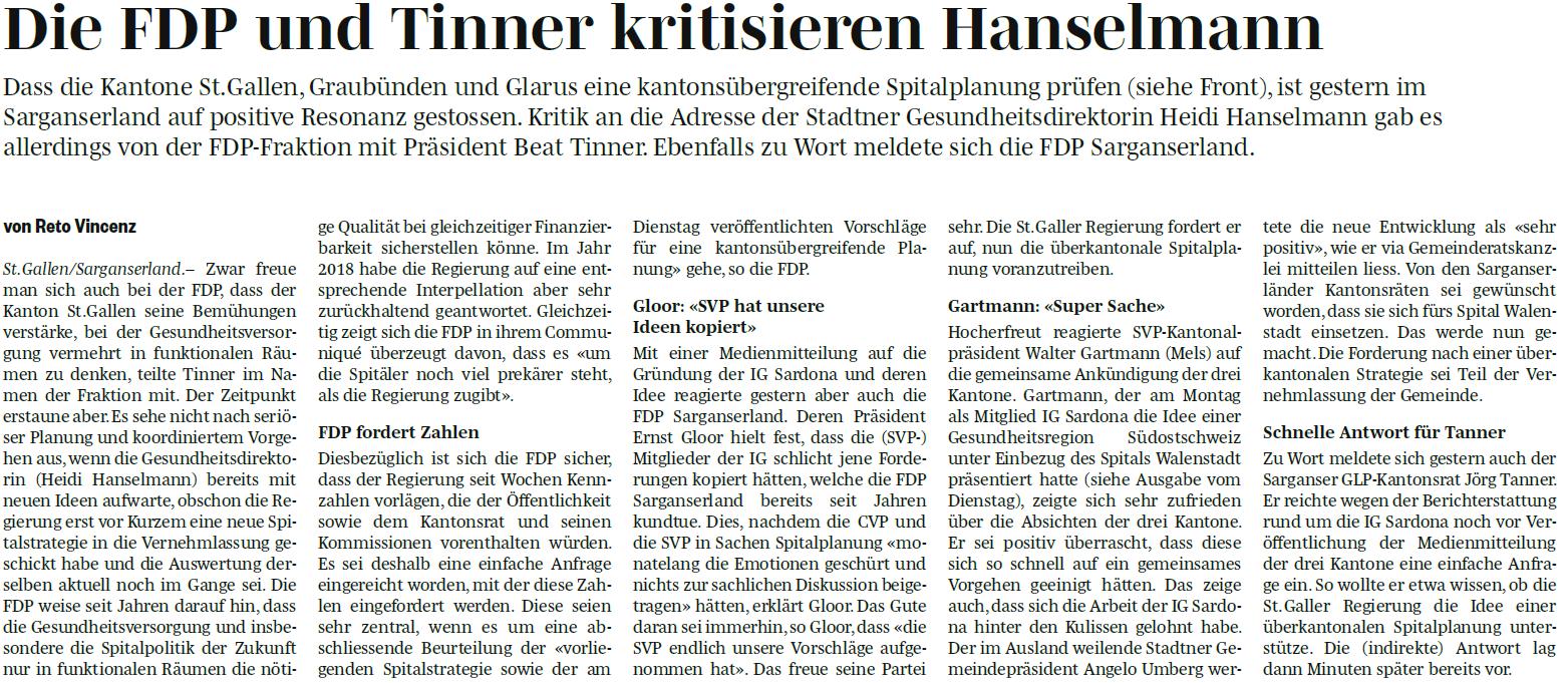 Die FDP und Tinner kritisieren Hanselmann