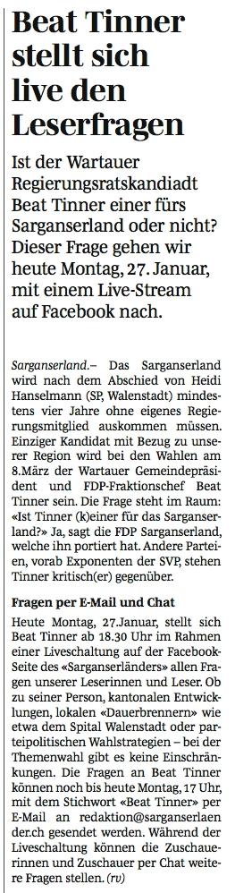 """Live-Chat mit Beat Tinner beim """"Sarganserländer"""""""