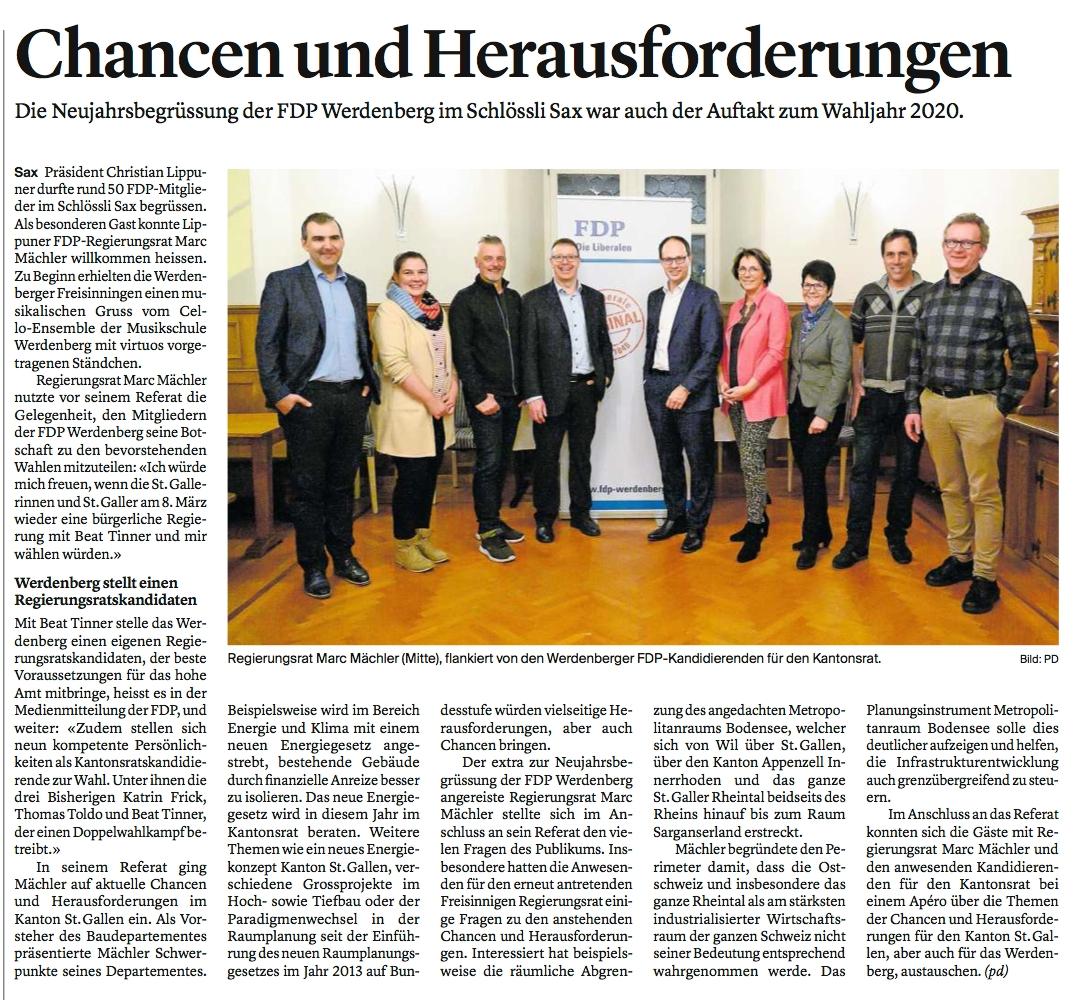 Die FDP Werdenberg packt Chancen und stellt sich Herausforderungen