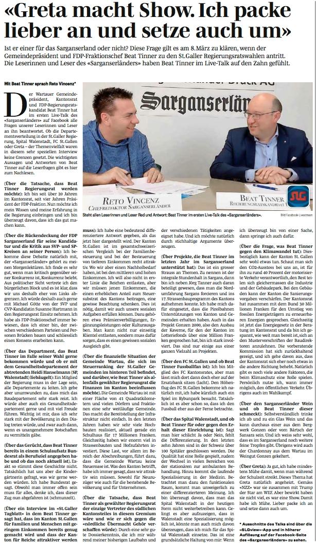 """Beat Tinner beim """"Sarganserländer"""" im Live-Interview"""