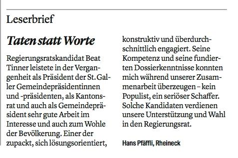 Leserbrief von Hans Pfäffli: Taten statt Worte