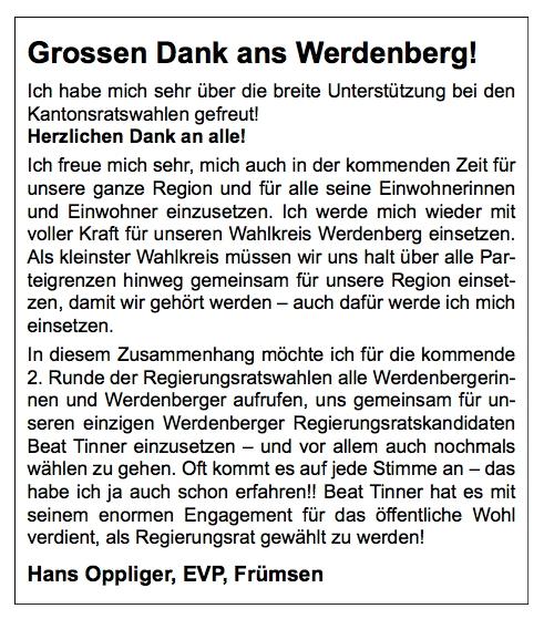 EVP-Kantonsrat Hans Oppliger unterstützt Beat Tinner